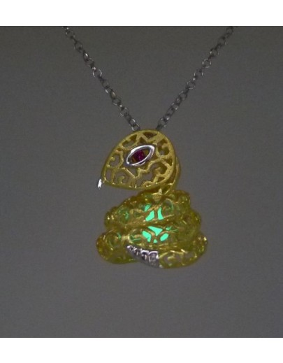 "HK089-s1~ 925銀蛇年花燈造型吊墜連18""銀頸鏈"