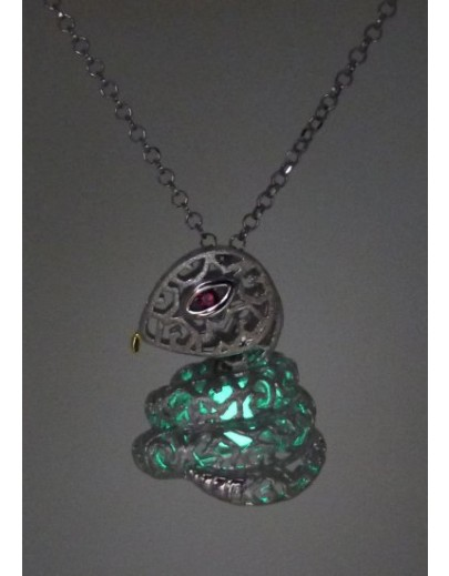 "HK089~ 925銀蛇年花燈造型吊墜連18""銀頸鏈"