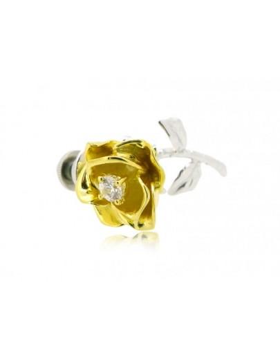 HK097~ 925銀玫瑰花造型領針