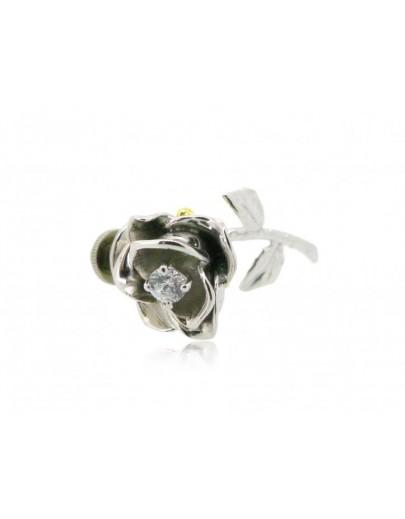 HK099~ 925銀玫瑰花造型領針
