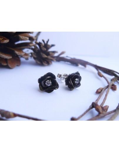 HK102~ 925銀玫瑰花造型耳環