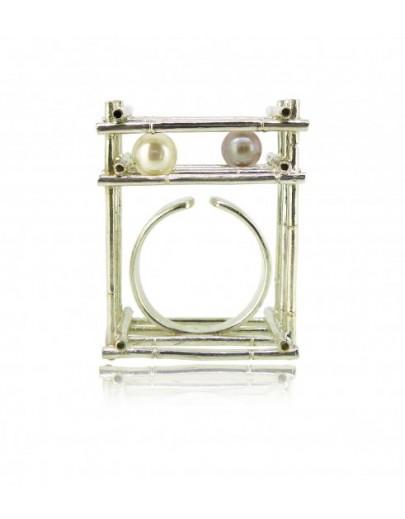 HK120~ 925銀方形竹棚珍珠戒指