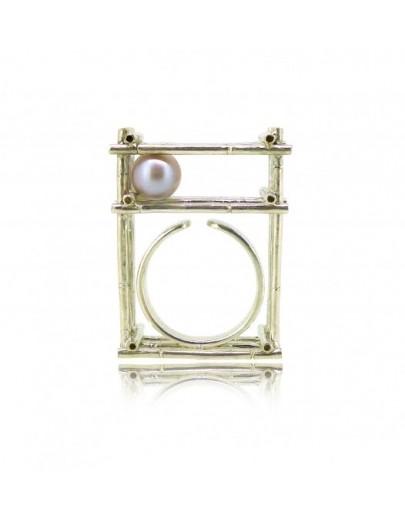 HK121-P~ 925銀方形竹棚粉色珍珠戒指