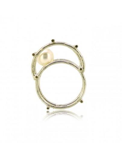 HK122~ 925銀竹棚珍珠戒指/吊墜