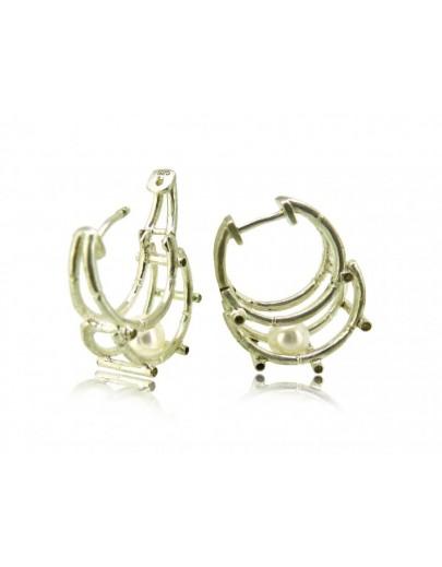 HK123~ 925銀竹節珍珠耳環