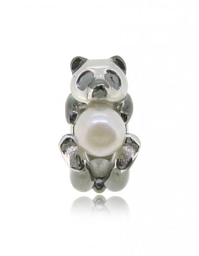 HK148~ 熊貓造型925純銀串飾 連天然珍珠