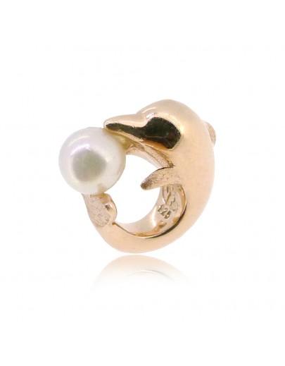 HK149~ 中華白海豚造型925純銀串飾 連天然珍珠