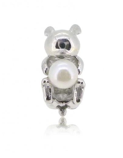 HK150~ 白兔造型925純銀串飾 連天然珍珠