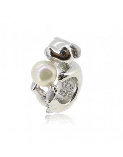 HK151~ 小狗造型925純銀串飾 連天然珍珠