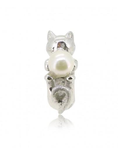 HK152~ 貓喵造型925純銀串飾 連天然珍珠
