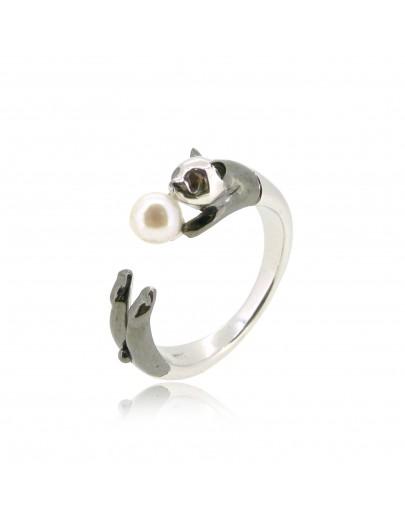 HK183~ 熊貓造型925純銀戒指 連天然珍珠