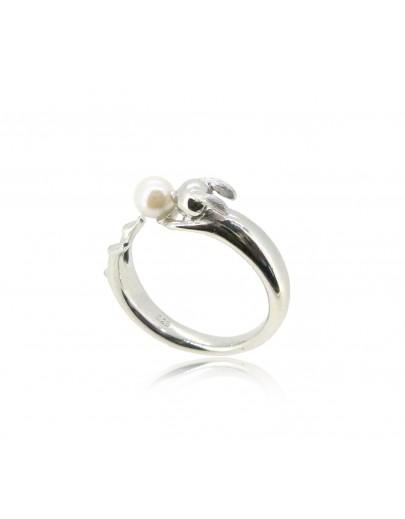 HK185~ 白兔造型925純銀戒指 連天然珍珠