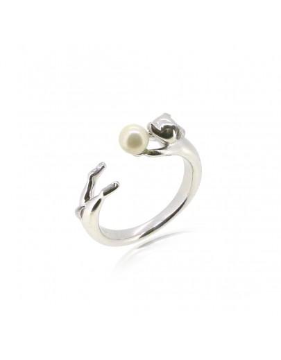 HK186~ 小狗造型925純銀戒指 連天然珍珠