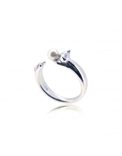 HK187~ 貓喵造型925純銀戒指 連天然珍珠