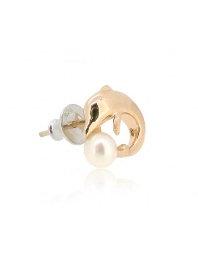 HK189~ 中華白海豚造型925純銀耳環 連天然珍珠