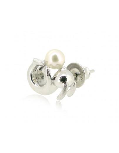 HK190~ 白兔造型925純銀耳環 連天然珍珠