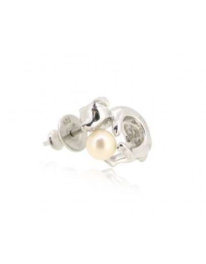 HK191~ 小狗造型925純銀耳環 連天然珍珠