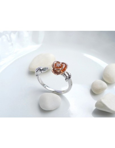 HK193~ 925銀玫瑰花造型戒指