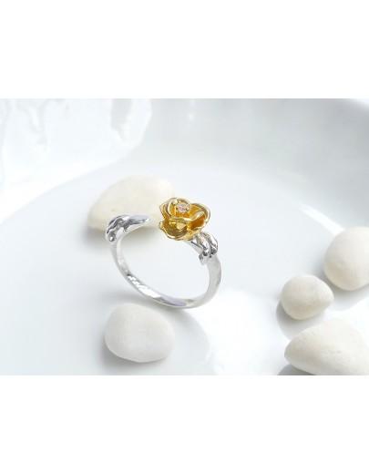 HK194~ 925銀玫瑰花造型戒指
