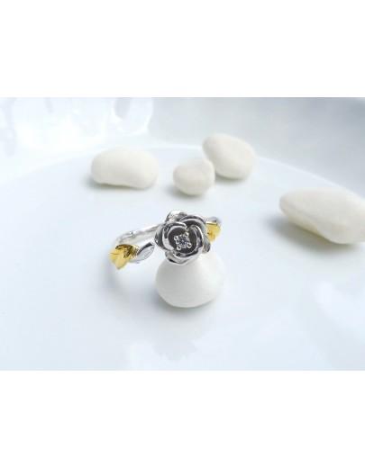 HK196~ 925銀玫瑰花造型戒指