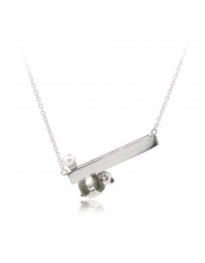 HK235~ 熊貓造型925純銀頸鏈 連天然珍珠
