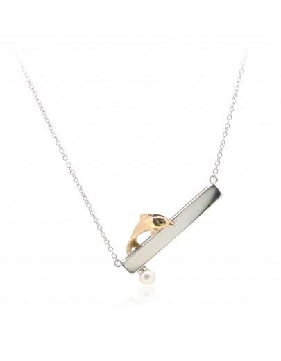 HK236~ 中華白海豚造型925純銀頸鏈 連天然珍珠