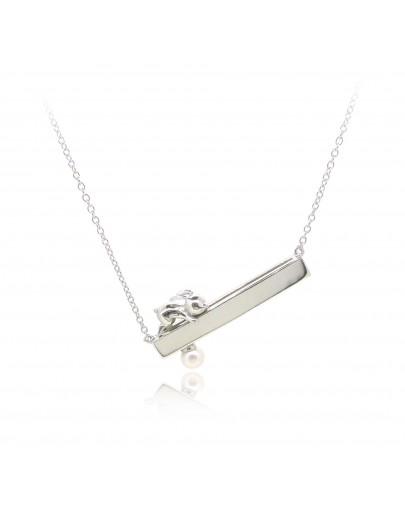 HK237~ 白兔造型925純銀頸鏈 連天然珍珠