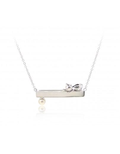 HK239~ 貓喵造型925純銀頸鏈 連天然珍珠