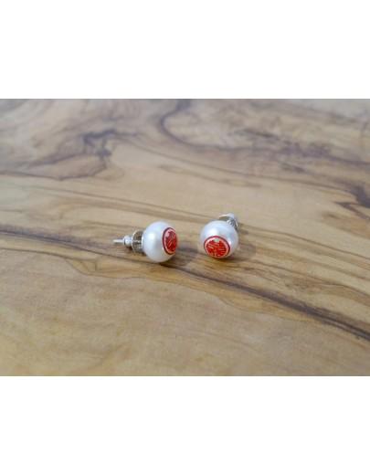 HK243~ 925銀 '囍' 平安包造型耳環