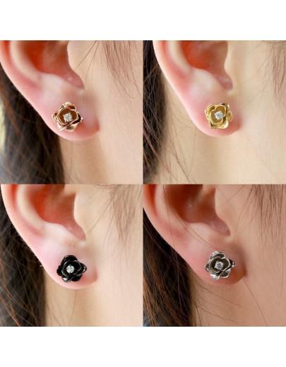 HK100~ 925銀玫瑰花造型耳環