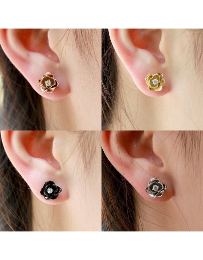 HK101~ 925銀玫瑰花造型耳環