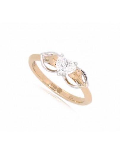 OD014~ 18K玫瑰金/白金心形鑽石戒指