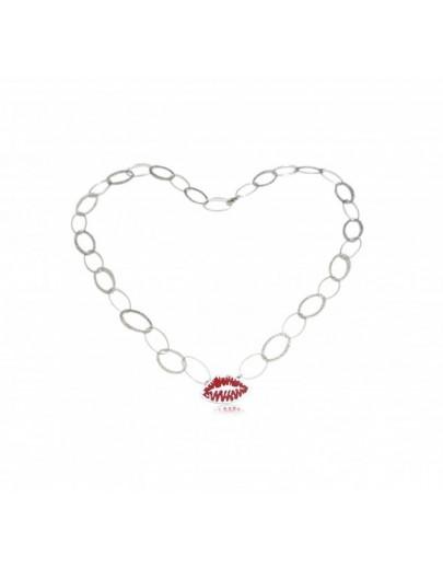 OD021~ 925銀紅色燒青唇印頸鏈