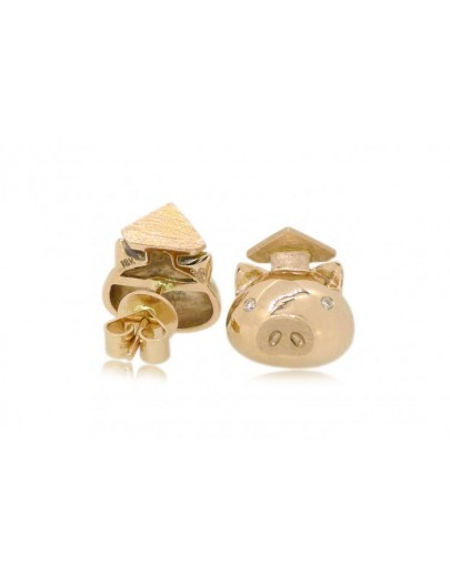 OD039~ 18K玫瑰金畢業豬仔造型鑽石耳環