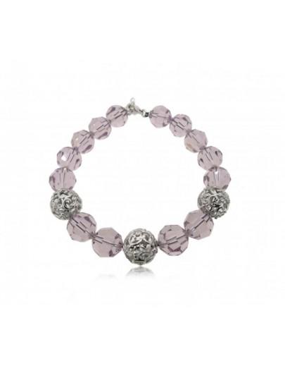 OD047~ 925銀施華洛世奇白水晶+天然紫水晶手鏈