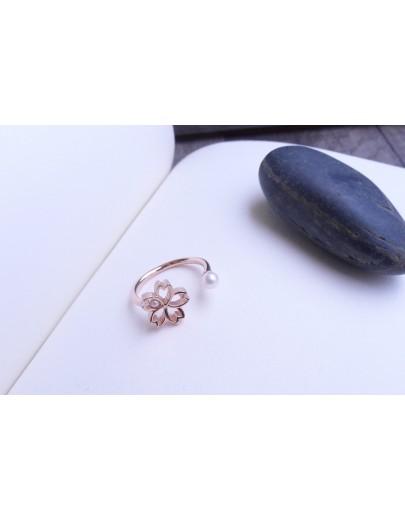 HK174 ~ 925銀櫻花造型戒指