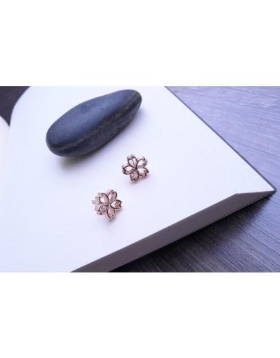 HK176 ~ 925銀櫻花造型耳環