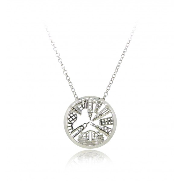 "HK252~ 925 Silver Victoria Harbour View Pendant (20mm) w/18"" Silver Necklace"