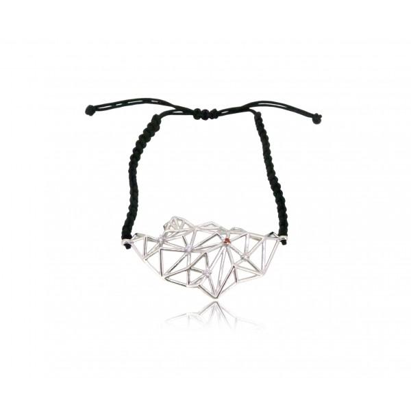 HK270~ 925 Silver Lion Rock Rope Bracelet