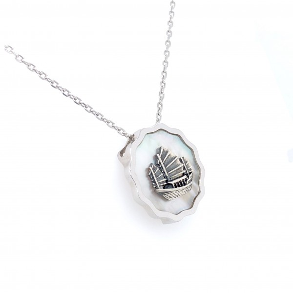 HK364~Coin Shaped Hong Kong Yacht Sterling Silver Pendant with MOP