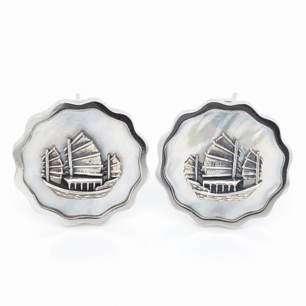 HK365~Coin Shaped Hong Kong Yacht Sterling Silver Earrings with MOP