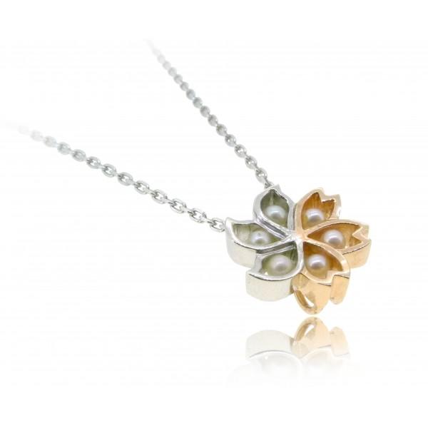 HK290 ~ 925 Silver Bauhinia & Sakura Pendant
