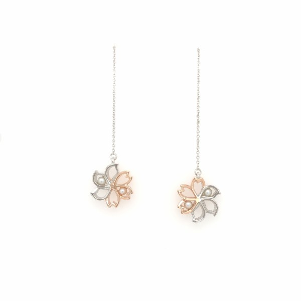 HK291 ~ 925 Silver Bauhinia & Sakura Earrings