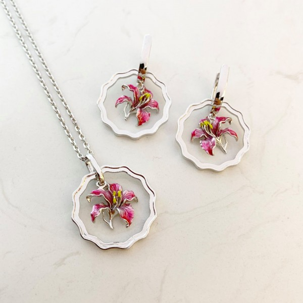 HK355~Coin Shaped Bauhinia Sterling Silver Pendant with Enamel