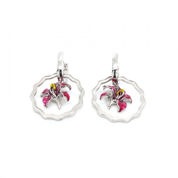 HK356~Coin Shaped Bauhinia Sterling Silver Earrings with Enamel