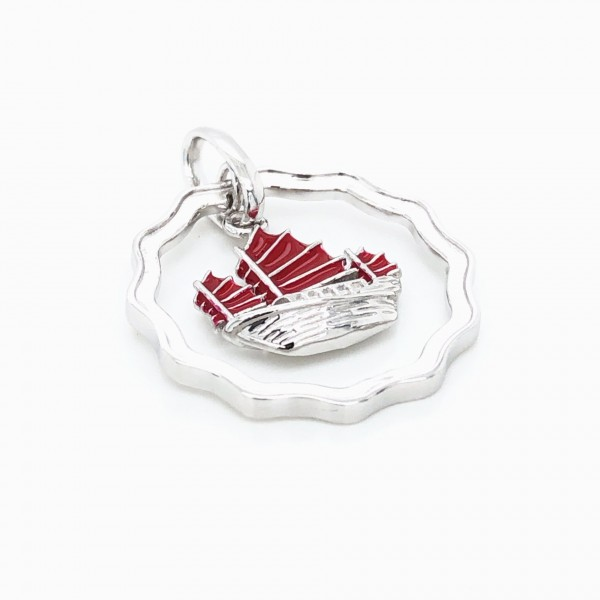 HK358~Coin Shaped Hong Kong Yacht Sterling Silver Pendant with Enamel