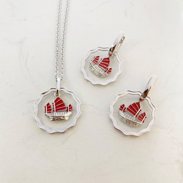 HK359~Coin Shaped Hong Kong Yacht Sterling Silver Earrings with Enamel