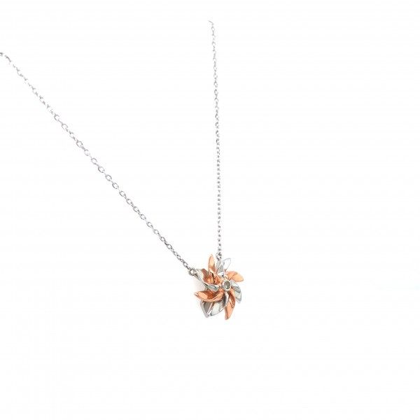 HK400~Windmill Shaped Sterling Silver Necklace with Diamond