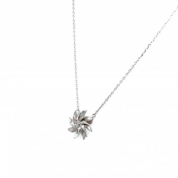 HK402~Windmill Shaped Sterling Silver Necklace with Diamond