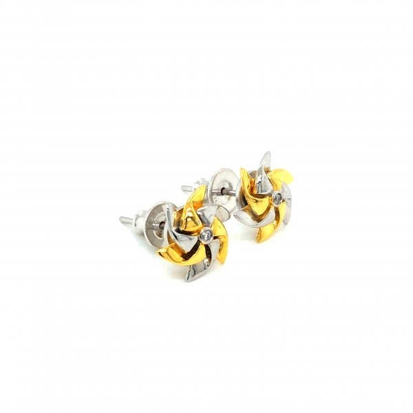 HK406~Windmill Shaped Sterling Silver Earrings with Diamond